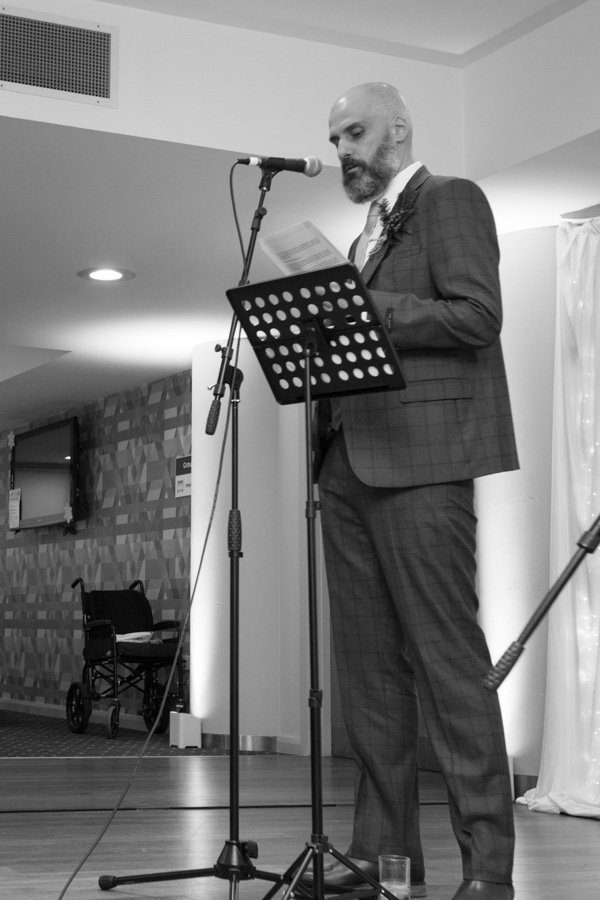 Groom giving his speech at Ibis Styles Hotel Barnsley wedding