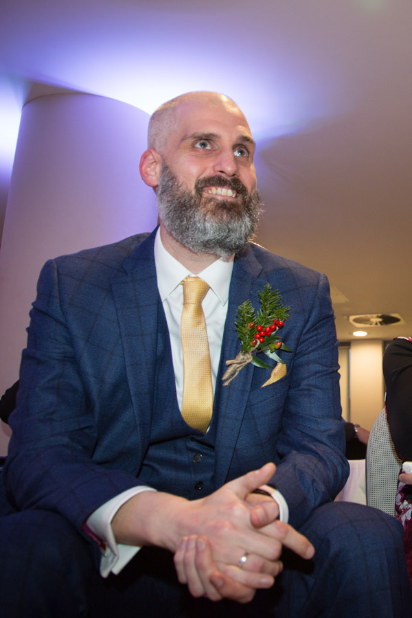 Groom laughing during speeches at Ibis Styles Hotel Barnsley wedding
