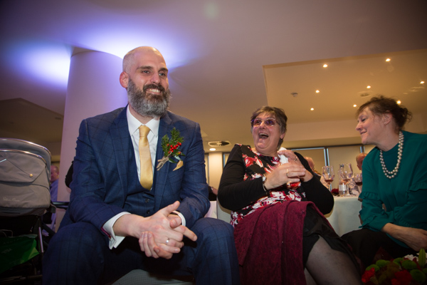 Guests laughing during speeches at Ibis Styles Hotel Barnsley wedding