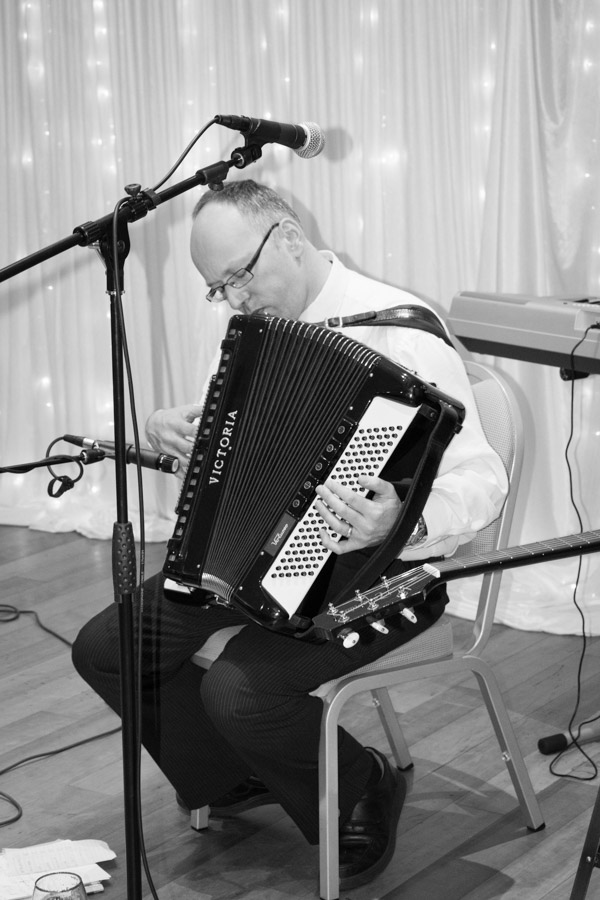 Guest playing accordion at Ibis Styles Hotel Barnsley on the wedding day