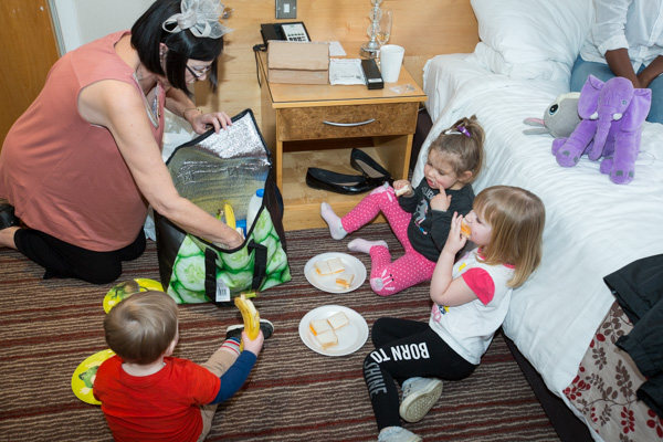 Children of the wedding party having a picnic in the bedroom at Holiday Inn Barnsley