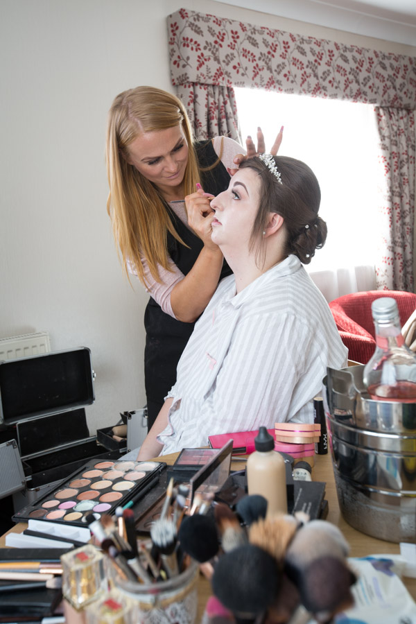 Bride having makeup done by Sue at Trilogy at Holiday Inn Barnsley