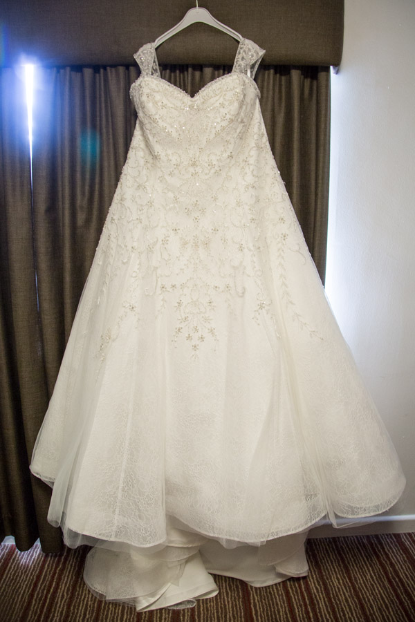 The wedding dress before it's worn from Peter's Bridal Warehouse