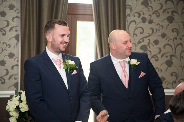 Groom and Best Man during the wedding cermony at Holiday Inn Barnsley