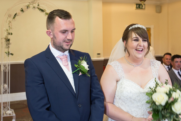 Bride and Groom during the wedding ceremony at Holiday Inn Barnsley