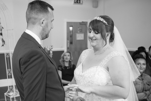 Bride and Groom saying their wedding vows at Holiday Inn Barnsley