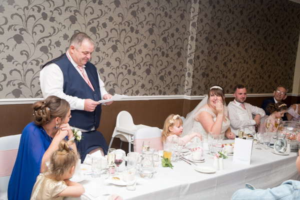 Father of the bride during his speech at Holiday Inn Barnsley