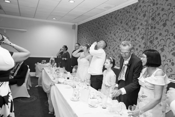 Bride and Groom leading the shots at Holiday Inn Barnsley