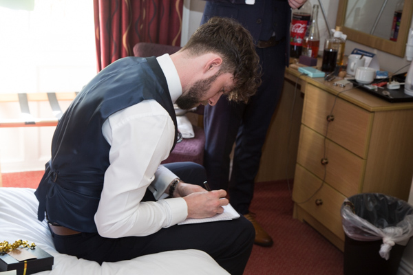 Best man writing Grooms speech at The Rockingham Arms