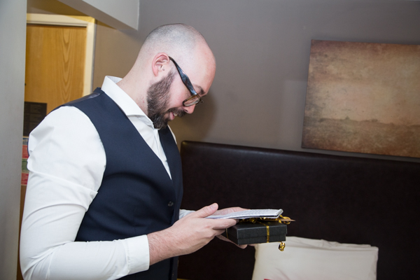 Groomsman reading Grooms speech at The Rockingham Arms