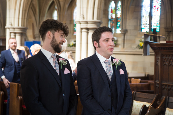 Groom and Groomsman at the alter in Wentworth Church
