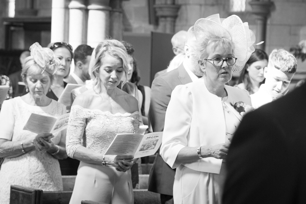 Mother of the bride singing hymns in Wentworth Church