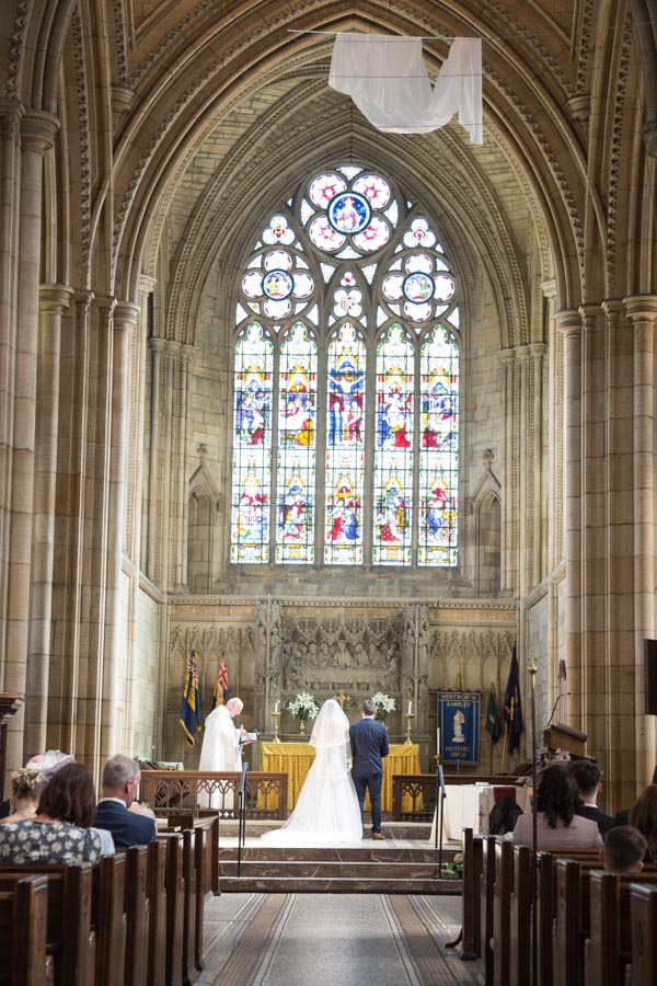 Bride and Groom at the high alter at Wentworth Church wedding ceremony