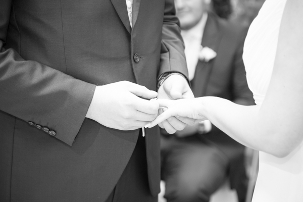 The exchange of the rings at Tankersley Manor Hotel Wedding