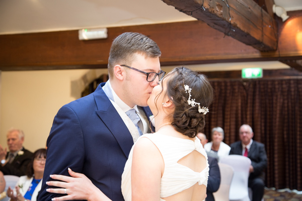 Bride and Groom kiss at Tankersley Manor Hotel Wedding