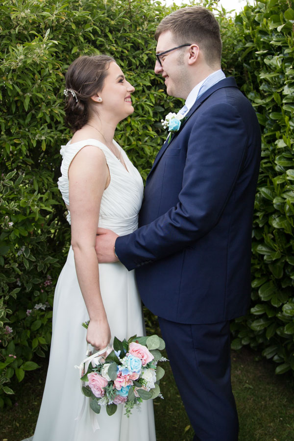 Bride and Groom in the grounds of Tankersley Manor Hotel Wedding