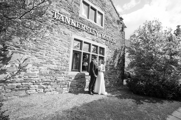 Bride and Groom in the grounds of Tankersley Manor Hotel Barnsley Wedding