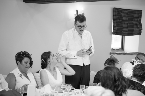 The wedding speeches at Tankersley Manor Wedding