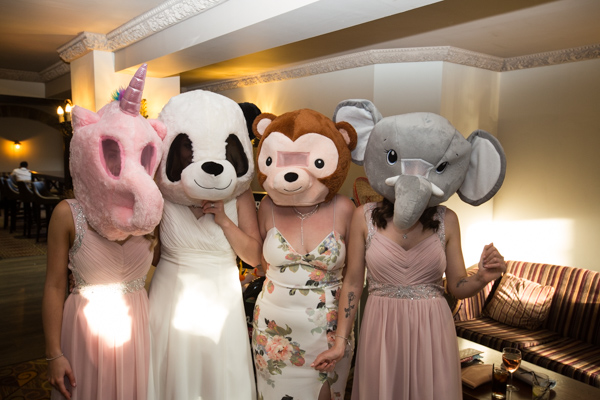 Bridesmaids and Bride in giant heads at Tankersley Manor Wedding