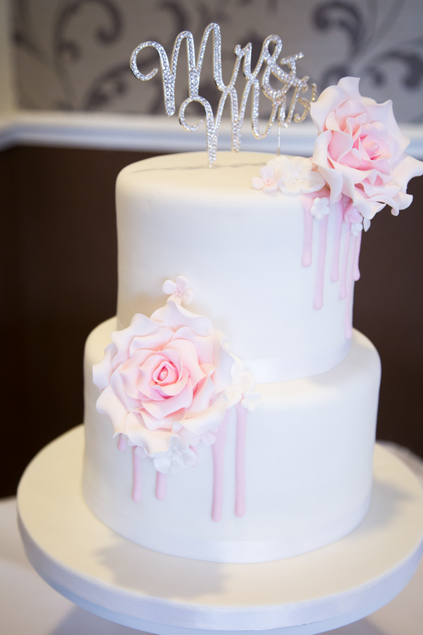Simple silver pink and white wedding cake
