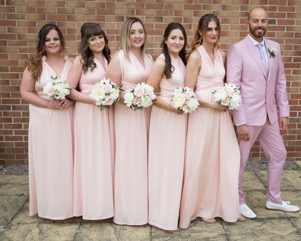 Bridesmaids before they walk down the aisle at Holiday Inn Barnsley Outdoor ceremony