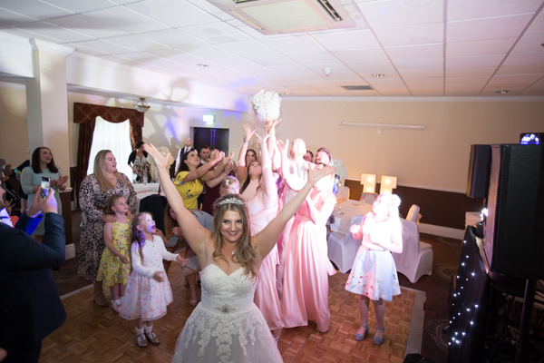 Throwing the bouquet at Holiday Inn Barnsley Wedding