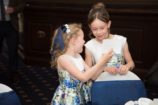 Flowergirls laughing at photographs at Rogerthorpe Manor wedding
