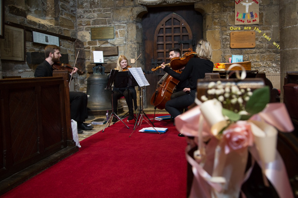 string quartet playing at Wath Church