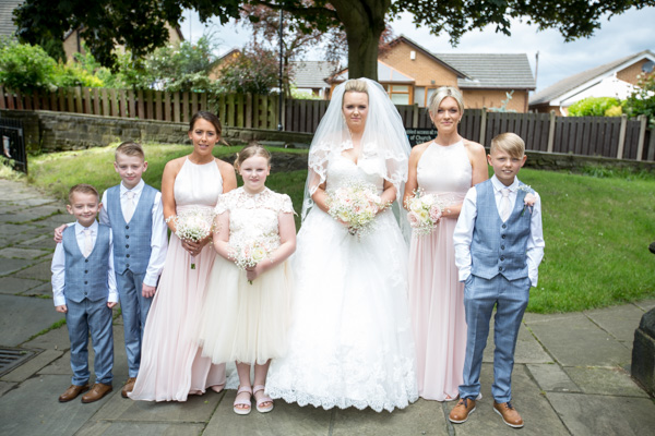 Bridal party before entering Wath church