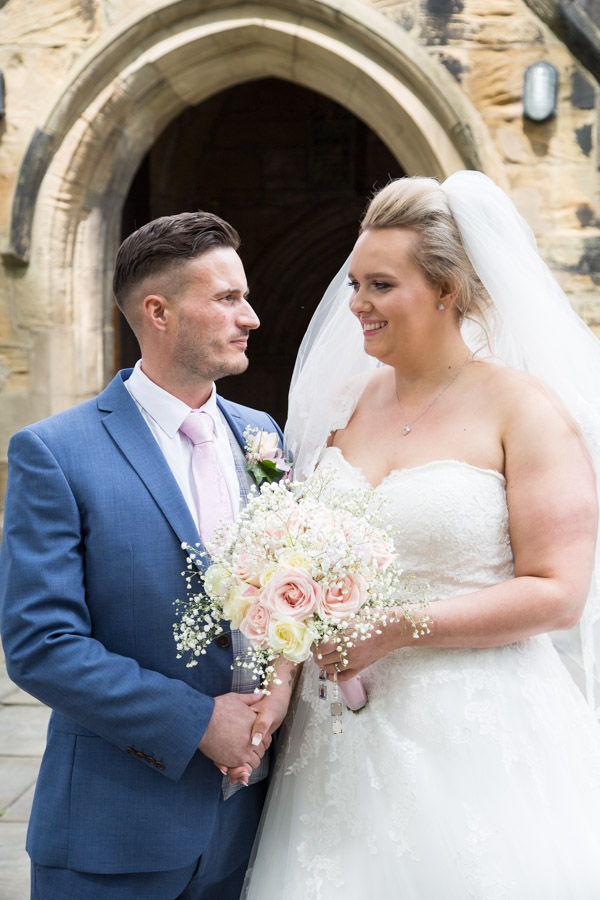 Bride and Groom outside Wath church