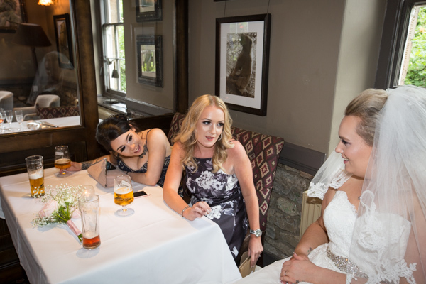 Bride talking to guests at The Rockingham Arms Wentworth