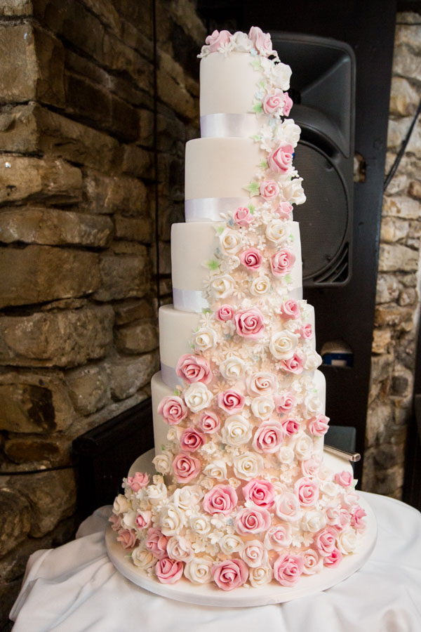 The wedding cake by Angel cakes at Rockingham Arms Wentworth