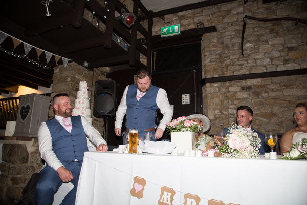 Best man during the speeches at Rockingham Arms Wentworth