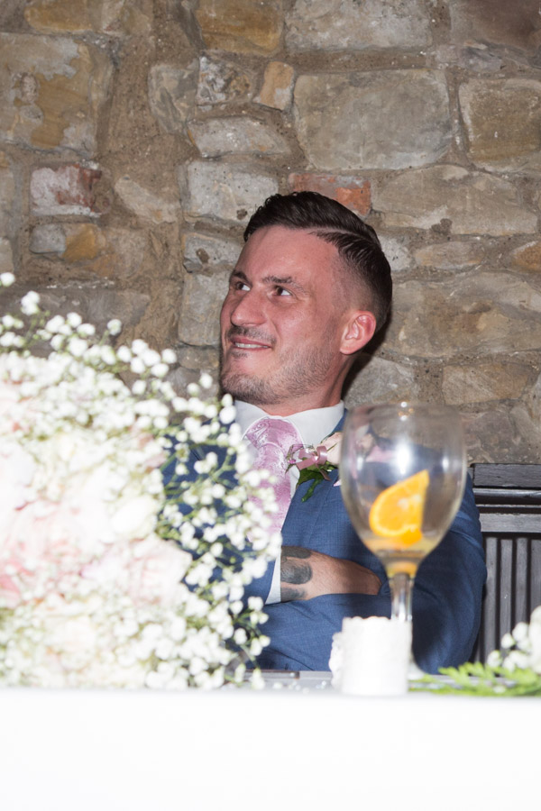 Groom smiling during the speeches at Rockingham Arms Wentworth