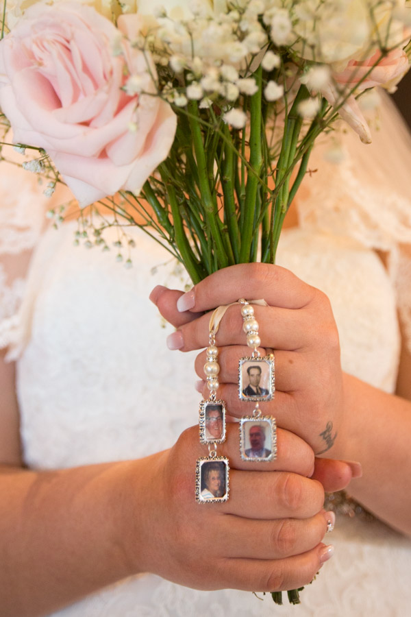 Brides bouquet with photograph detail