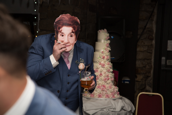 Wedding guest wearing Dot Cotton mask at Rockingham Arms Wentworth