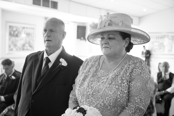 Bride and groom during the wedding ceremony at Bluebell Banqueting Suite Barnsley Wedding