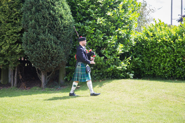 The piper at Bluebell Banqueting Suite Barnsley Wedding