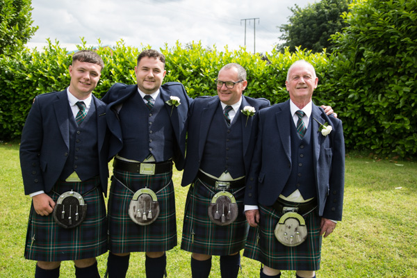 Groomsmen in kilts at Bluebell Banqueting Suite Barnsley Wedding