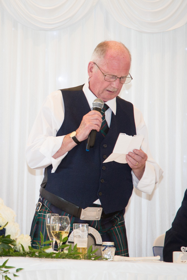 THe groom duing his wedding speech at Bluebell Banqueting Suite Barnsley Wedding