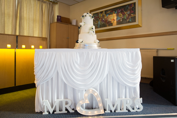 THe wedding cake table at Bluebell Banqueting Suite Barnsley Wedding