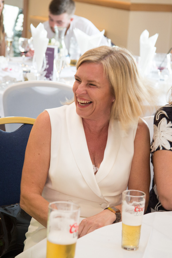 Guest laughing at Bluebell Banqueting Suite Barnsley Wedding