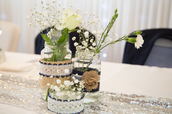 The centrepieces at Bluebell Banqueting Suite Barnsley Wedding