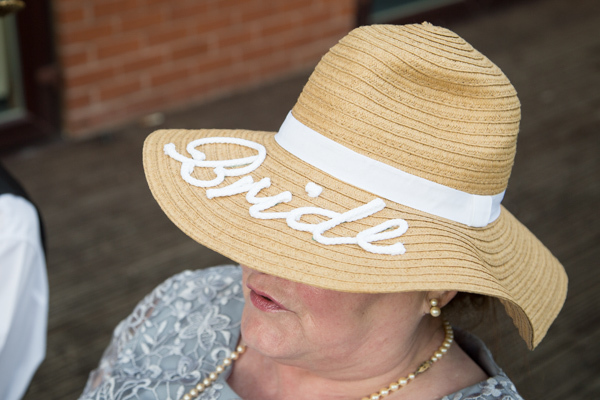Bride personalised straw hat at Bluebell Banqueting Suite Barnsley Wedding