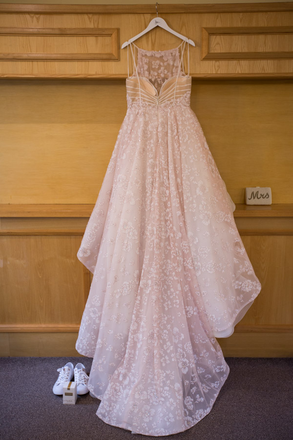 The wedding dress before it's worn at Bagden Hall Hotel Wedding
