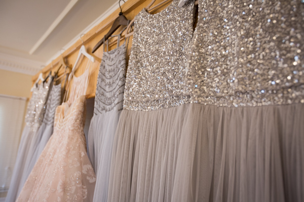 THe wedding dress and bridesmaid dresses at Bagden Hall Hotel Wedding