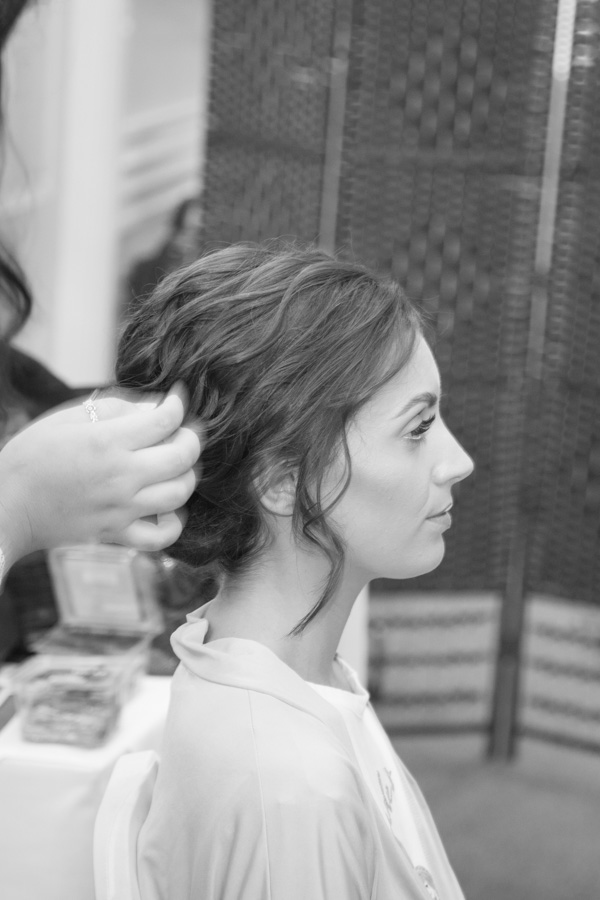 Bridesmaid having her hair done at Bagden Hall Hotel Wedding