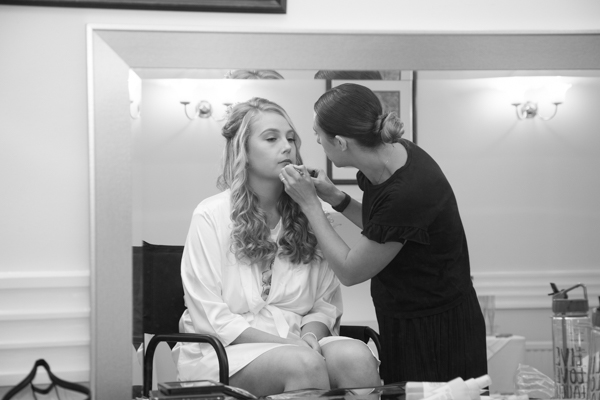 THe bride having her makup done at Bagden Hall Hotel Wedding