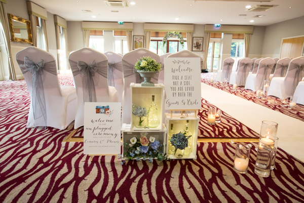 The ceremony room at Bagden Hall Hotel Wedding