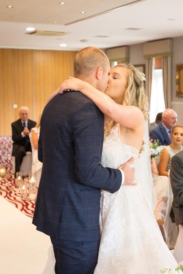 Birde and groom during the wedding ceremomy at Bagden Hall Hotel Wedding
